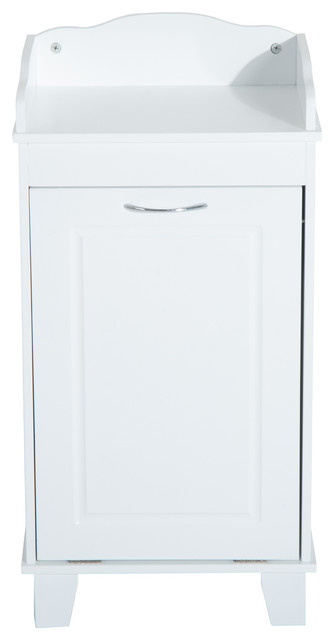 Wooden Bathroom Laundry Hamper Cabinet White