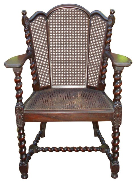 Consigned Antique Victorian Jacobean Barley Twist Cane Chair  Victorian Armchairs And Accent