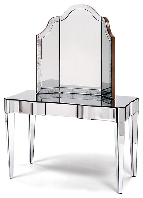 Amazing Harlow Vanity Table 3 Drawer, Mirrored, Clear Mirror, Large