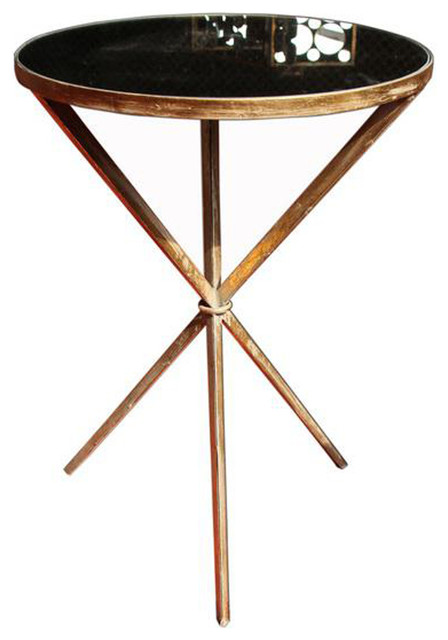 Kelly Side Table, Antique Gold Midcentury Side Tables And End