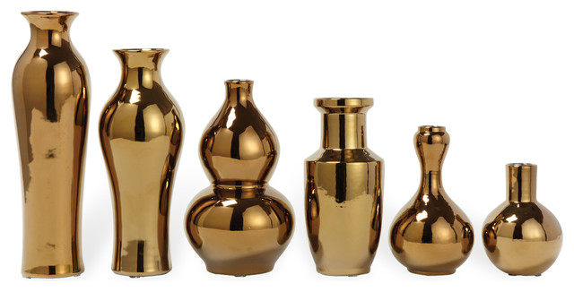 set of 6 porcelain antique gold plated decorative vase set transitional vases - Decorative Vases