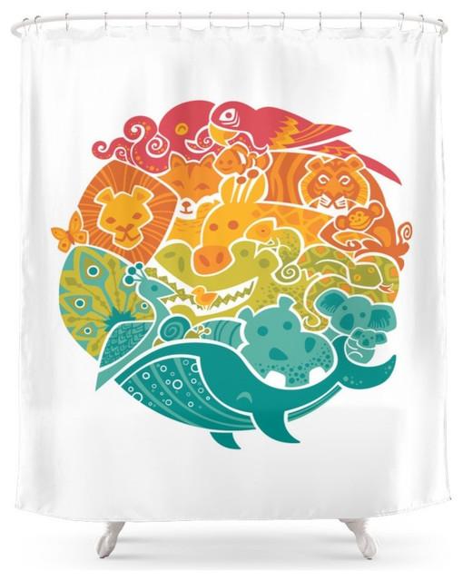 Animal Rainbow Shower Curtain