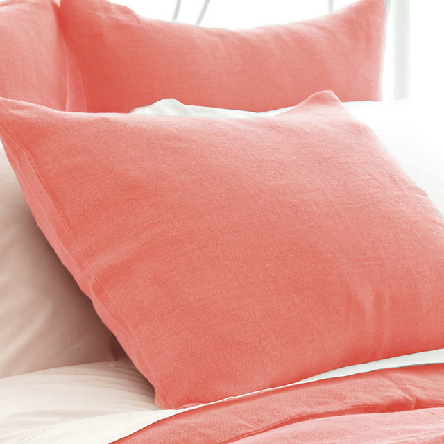 Pine Cone Hill Stone Washed Linen Sham European Coral