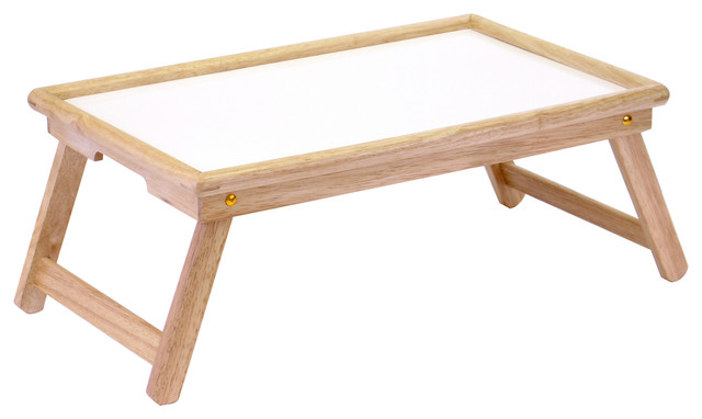 Winsome Bed Tray With Notch Handle, White/natural.
