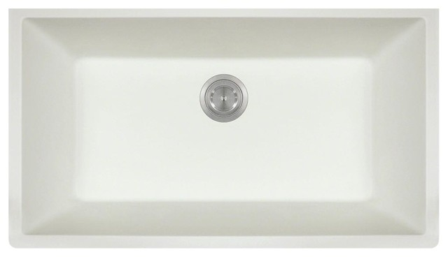 Large Single Bowl Quartz Kitchen Sink, White, No Additional Accessories.