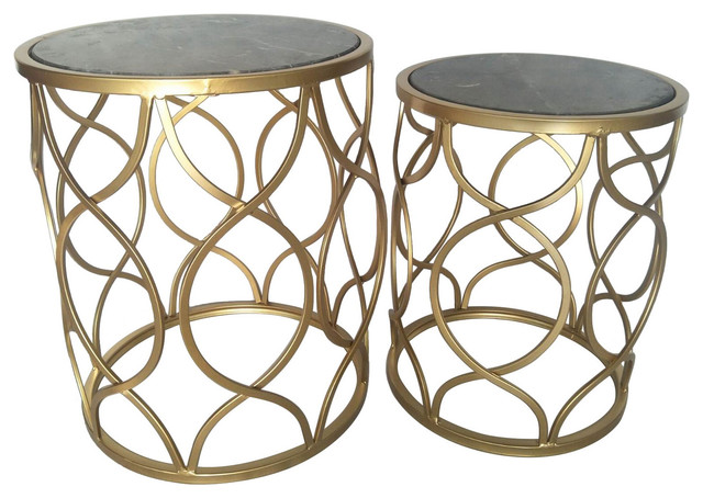 Three Hands Set Of Two Metal Marble Top Tables