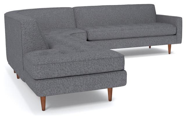 Monroe 3-Piece Sectional Sofa, Smoke, Chaise on Left