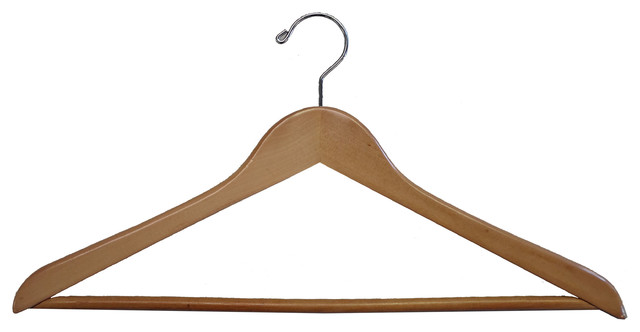 Gemini Concave Suit Hanger With Wooden Bar, Natural.