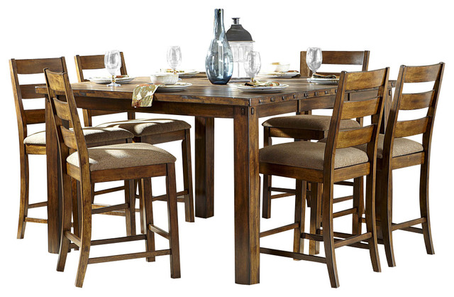 Homelegance Ronan 7 Piece Counter Height Table Set In Burnished Rustic  Rustic Dining Sets