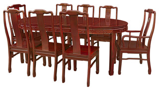 80 rosewood longevity design oval dining table with 8 for Asian furniture westmont il