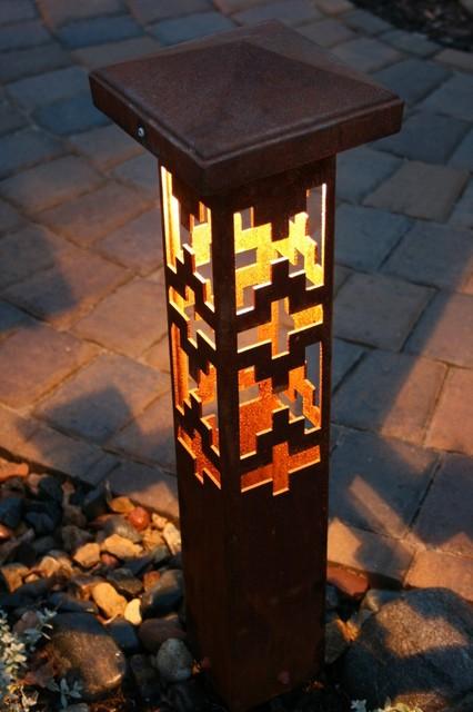 Decorative Steel Bollard Lights Contemporary Outdoor