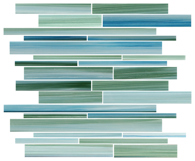 Rip Curl Green And Blue Hand Painted Linear Gl Mosaic Tile Sample