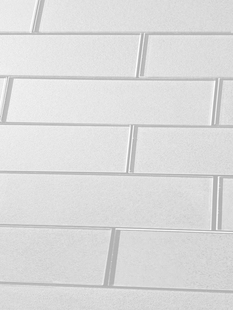 3 X12 Secret Dimensions White Glossy Gl Subway Tile Wall Backsplash Contemporary And Floor By Abolos