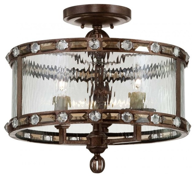 Three Light Clear Watered Glass Gilded Bronze Drum Shade Semi