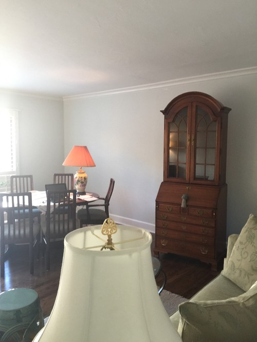 Two Other Lounge Chairs And A Tall Secretary Are Major Pieces. Window Wall  Of Sliders Is 9 Feet Wide. Ceiling Height Is 8 Feet Tall. Crown Molding And  Deep.
