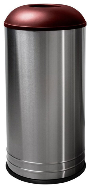 stainless steel garbage can domed lid burgundy