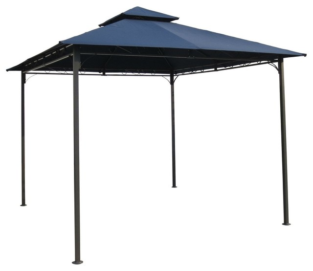 10&x27;x10&x27; Outdoor Garden Gazebo With Iron Frame, Navy Blue Canopy.
