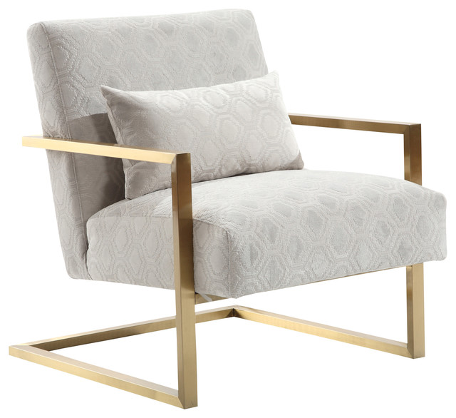 Accent Chairs.Skyline Modern Accent Chair Cream Chenille And Gold Metal