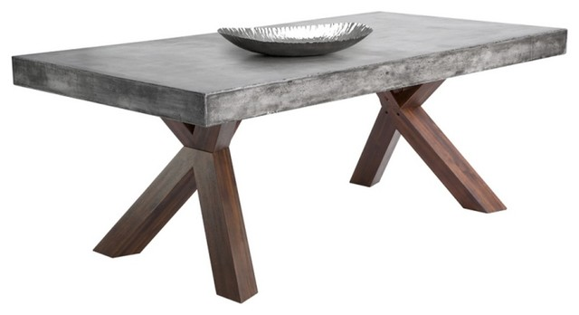Hattie Concrete Edge Dining Table Industrial Dining Tables