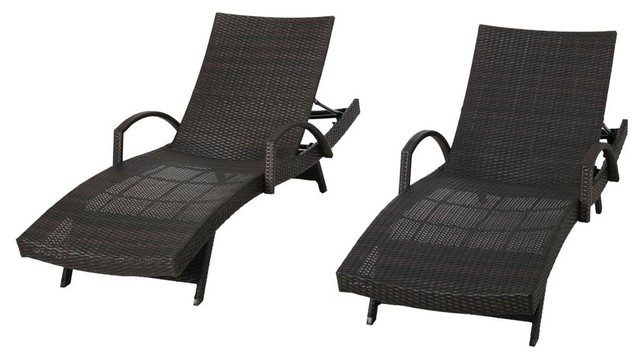 Outdoor armed chaise lounges set of 2 tropical for 2 armed chaise lounge