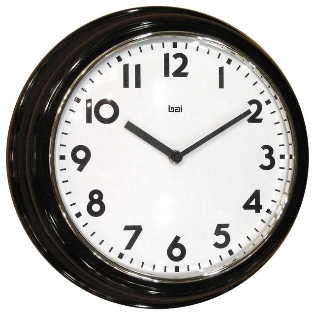 "Contemporary Retro Black 13"" Wide Wall Clock"