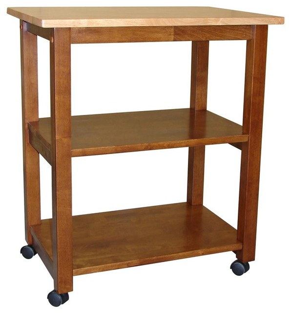 Solid Wood Microwave Cart W Casters Traditional Kitchen Islands And Carts By Ladder