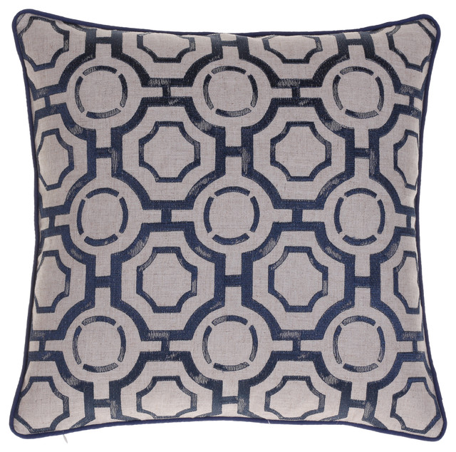 Embroidered Distressed Geometric Pillow, Indigo.
