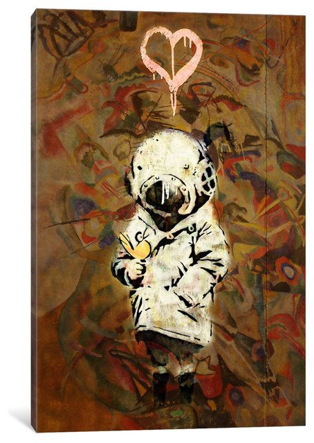 """space Girl And Bird Mural"" By Banksy, 40x26x0.75""."