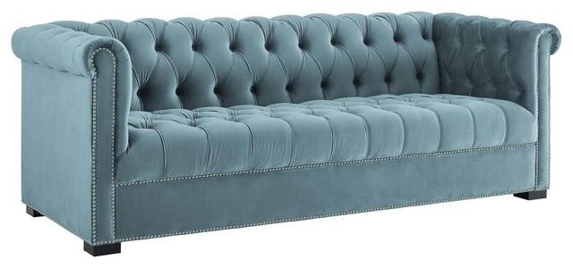 Heritage Upholstered Velvet Sofa, Sea Blue