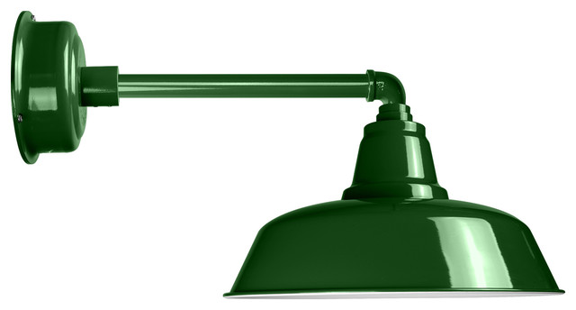 14 Goodyear Led Wall Light With Metropolitan Arm Vintage Green