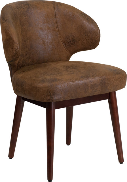 Flash Furniture Bomber Microfiber Lounge Chair, Brown And Walnut.