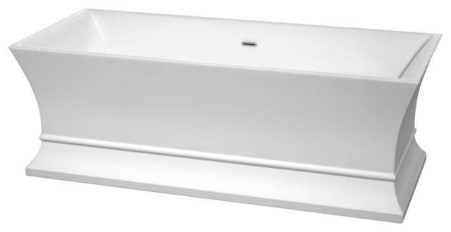 "Jamie 67"" Freestanding White Bathtub, Polished Chrome, No Faucet."