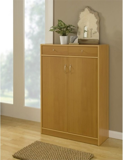 Furniture Of America Marley Contemporary Shoe Cabinet Beech Storage By Homesquare