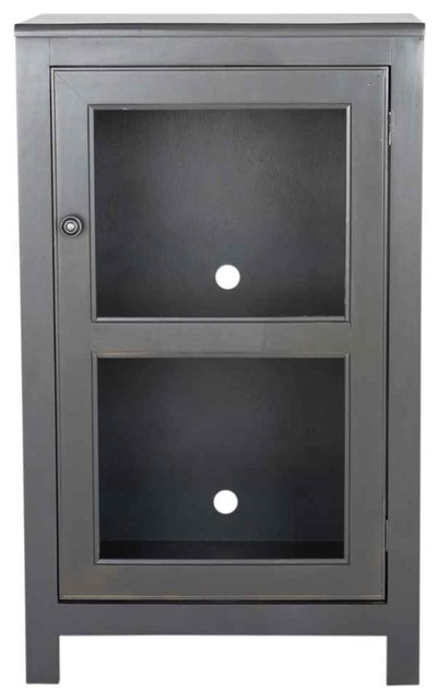 "40"" Tall Harbor Audio Tower, Antique Black - Media Cabinets - by ShopLadder"