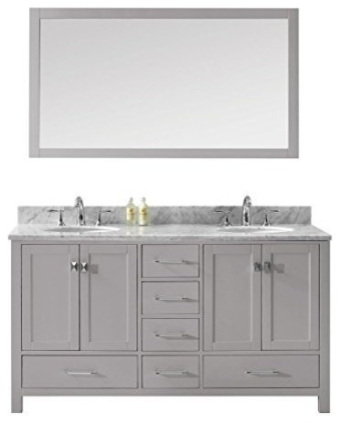 Caroline Avenue 60 Double Bathroom Vanity Set, Cashmere Gray, Brushed Nickel.