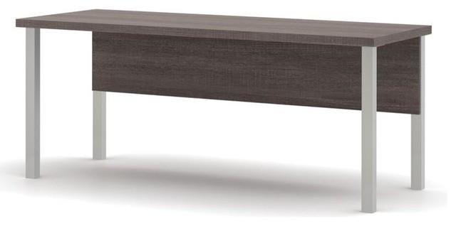 Bestar Bestar Pro Linea Table With Metal Legs Bark Grey
