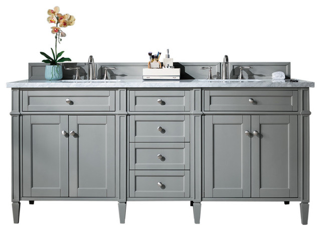 Brittany 72 Urban Gray Double Cabinet, Top Not Included.