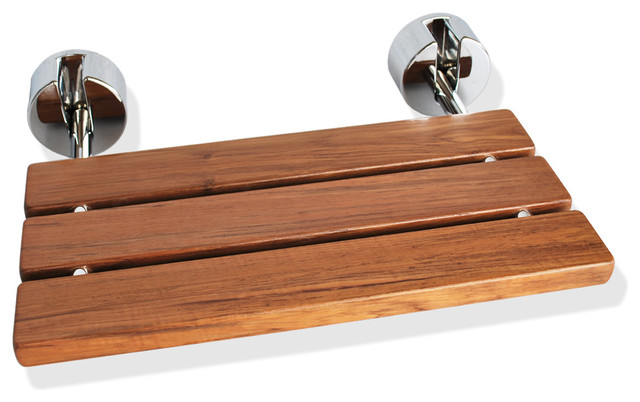 Wall-Mounted Teak Wood Folding Shower Seat - Contemporary - Shower ...