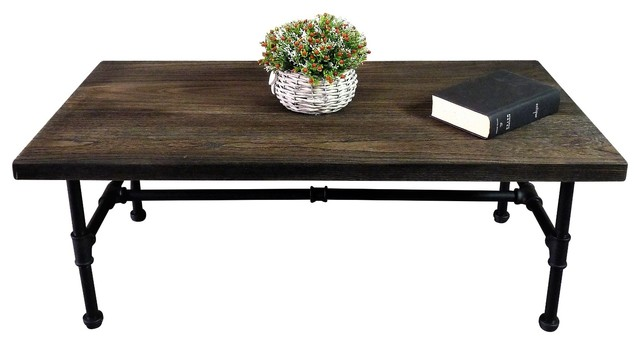 Corvallis Industrial Chic Coffee Table, Black Steel/Dark Wood