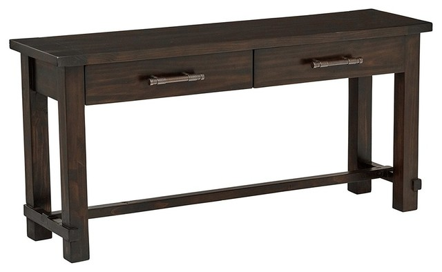 Rustic Console Table in Solid Pine Wood With 2 Drawers for Additional  Storage