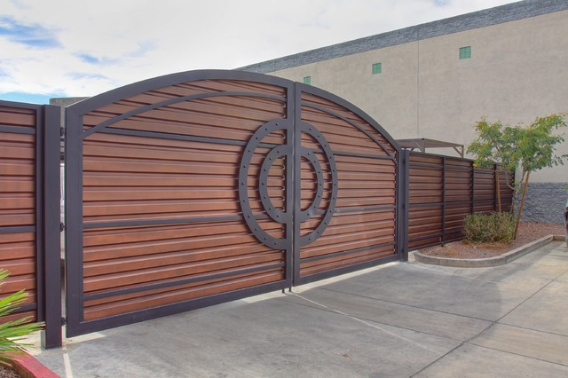 Modern iron gate by first impression security doors for Modern front gate design