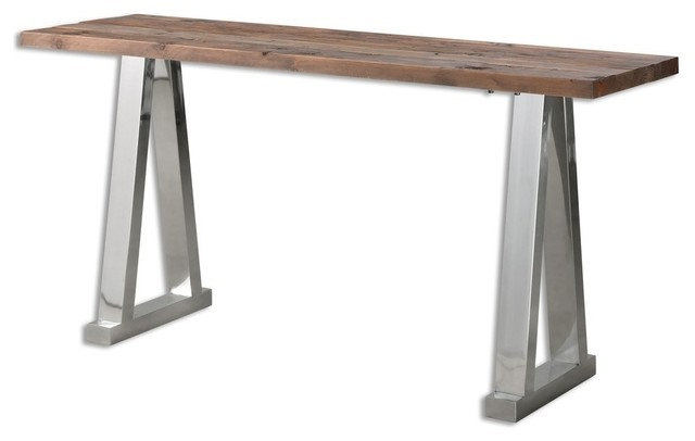 Minimalist Loft Reclaimed Wood Silver Chrome Console Table Contemporary  Console Tables