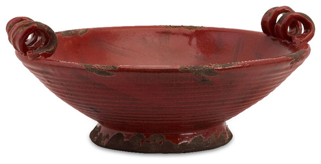 Garnet Oval Red Maroon Antique Rustic Bowl Ceramic