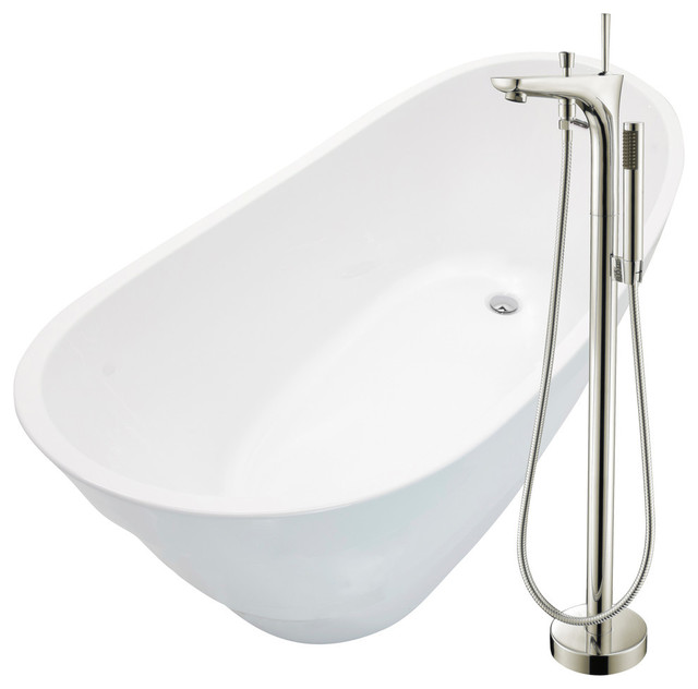 """Anzzi 67"""" White Acrylic Soaking Bathtub With Brushed Nickel Faucet."""