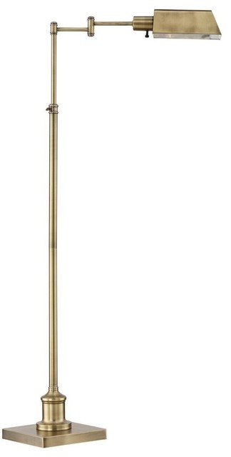 Traditional Aged Brass Pharmacy Floor Lamp With Adjustable Swing Arm.
