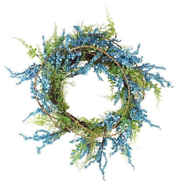 """12"""" Blue Green And Brown Decorative Berry Artificial Spring Twig Wreath, Unlit."""