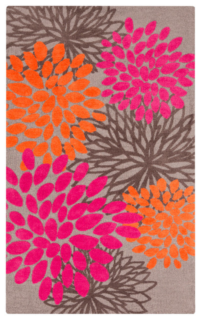 Surya Aail Abi9070 Hot Pink Tangerine Light Gray Area Rug