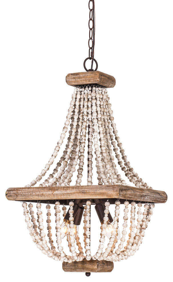 Light Metal Chandelier With Wood Beads