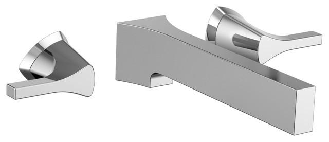 Delta zura chrome modern two handle wall mount bathroom - Delta contemporary bathroom faucets ...