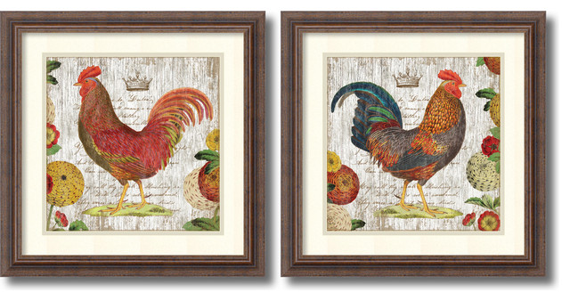 Suzanne Nicoll Rooster Rustic Frame Set Of 2 Framed Art Print 18